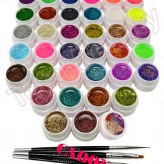 Set 36 geluri UV Color cu sclipici ENS PRO pentru Lampa UV + CADOU - Gel unghii, Gel colorat