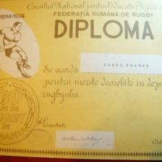 Diploma Federatia Romana Rugby -60 Ani infiintare pt C.Kramer -Pres.Rugby Steaua - Diploma/Certificat