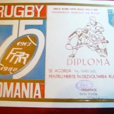 Diploma Federatia Romana Rugby -75 Ani activitate pt C.Kramer -Pres.Rugby Steaua - Diploma/Certificat
