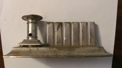 PVM - Suport vechi metal nichelat pentru 6 tocuri calimara si lumanare foto