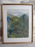 Sinaia, acuarela de Eliza Popescu Ziziade, pictura peisaj montan Sinaia, Peisaje, Realism