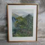 Sinaia, acuarela de Eliza Popescu Ziziade, pictura peisaj montan - Pictor roman, Peisaje, Realism