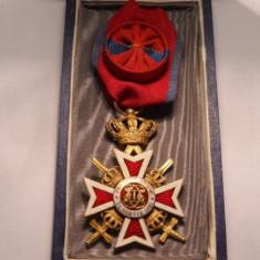 Ordinul Coroana Romaniei Ofiter Model de Razboi la Cutie Piesa de Colectie
