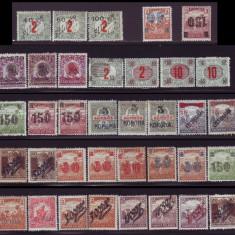 1919 Colectie Emisiunea Timisoara, plic + timbre + erori + fragmente circulate, Romania 1900 - 1950
