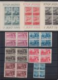 ROMANIA 1947 LP  217  LP  218 a   1  MAI  BLOCURI   DE 4  TIMBRE   MNH, Nestampilat