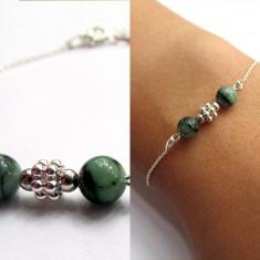 Bratara argint cu pietre naturale smarald