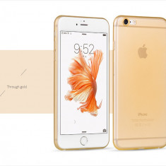 Husa HOCO ultra slim 0.3mm, ultra usoara iPhone 6, 6S semi-transparenta, pe GOLD - Husa Telefon Hoco, Auriu