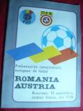 Program Meci Fotbal Romania - Austria -Preliminarii Campionat European 1986