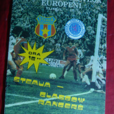 Program Meci Fotbal Steaua- Glasgow Rangers 1988 Cupa Camp.Europeni III
