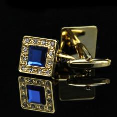 Butoni in forma GOLDEN BLUE SQUARE metalici cu strasuri + cutie simpla cadou