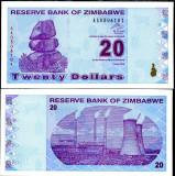 !!!  ZIMBABWE  -  20  DOLARI  2009  -  P 95  -  UNC  // SERIA  AA