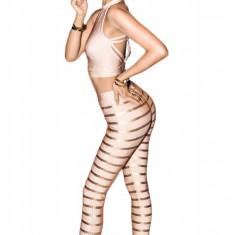 L506 Compleu bandage - cu top scurt decupat si pantaloni model in dungi - Top dama, Marime: S, S/M