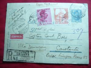 Carte Postala 4 lei Carol II marca fixa ,20 lei Carol II Posta recomandata 1940