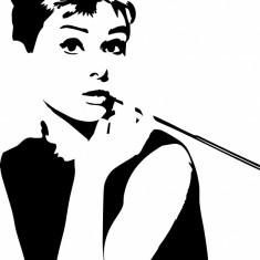 Autocolant sticker decorativ pentru perete, Audrey Hepburn 34x22 cm