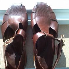 Sandale piele barbati marime 46 29 cm - Sandale barbati, Culoare: Maro