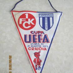 Fanion panza, fotbal Universitatea Craiova-FC Kaiserslautern, 16 martie 1983 - Fanion fotbal