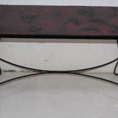 Eleganta masuta de cafea din fier forjat; Masa metalica