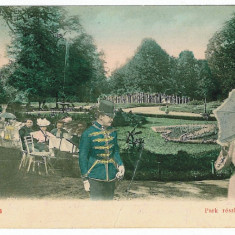 516 - BUZIAS, Park - old postcard - used - 1904 - Carte Postala Banat pana la 1904, Circulata, Printata