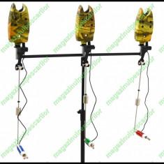 Rod pod Fishing Line - FL Cu 3 Posturi 3 Swingere Si 3 Senzori / Avertizori Husa Transport Inclusa
