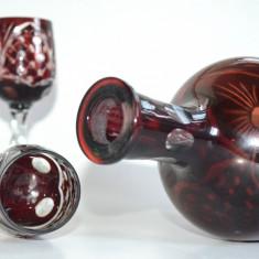 Lot 4 pahare si un decantor fara dop, cristal rubin - perioada anilor '80