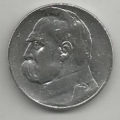 POLONIA 5 ZLOTI 1936, Argint [1] XF, JOSEF PILSUDSKI in cartonas, Europa