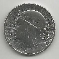 POLONIA 5 ZLOTI 1933, Argint [5] XF, REGINA JADWIGA in cartonas, Europa