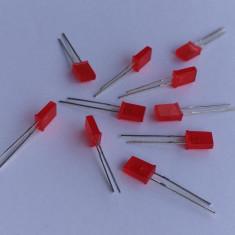 ( 10buc ) Led-uri dreptunghiulare rosii ( 2 x 5 x 7 mm )