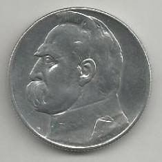 POLONIA 5 ZLOTI 1934, Argint [3] XF, JOSEF PILSUDSKI in cartonas, Europa