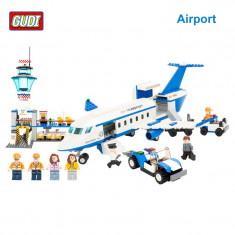 MEGA JOC TIP LEGO- AVION PE AEROPORT,DE LA GUDI,piese tip lego SUPERB-RARITATE!
