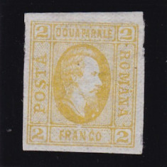 ROMANIA1865 LP 15a A I CUZA 2 PARALE GALBEN GUMA ORIGINALA POINCON AUTENTICITATE - Timbre Romania, Nestampilat