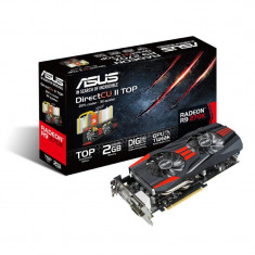 Placa video ASUS AMD R9270X-DC2T-2GD5, R9 270X, PCI-E, 2048MB GDDR5, 256 bit, GPU Boost Clock : 1120 MHz, 5600 MHz, 2*DVI, HDMI, DP, OC, bulk