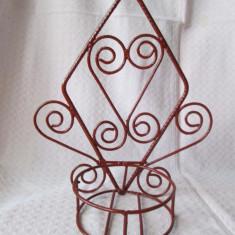 Suport ghivece flori din fier striat, vechi suport de perete pentru ghivece - Metal/Fonta