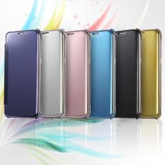 Husa flip Clear View pentru Samsung Galaxy S6 edge - Husa Telefon, Argintiu, Plastic