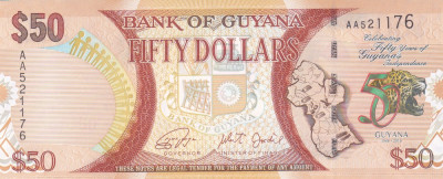 Bancnota Guyana 50 Dolari 2016 - P41 UNC ( comemorativa ) foto