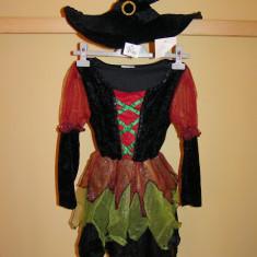 Costum de carnaval serbare vrajitoare pentru fete de 7-8 ani - Costum Halloween, Marime: Masura unica, Culoare: Din imagine