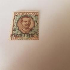 italia/ocupatia in turcia/ constantinopole 1908/ 4 Pia/ 1 Lira/ MH