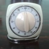 Timer vechi de colectie mecanic de bucatarie metalic functional,ceas mecanic