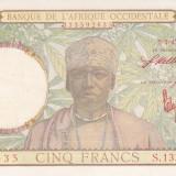 Bancnota Africa Occidentala Franceza 5 Franci 1943 - P26 UNC (serie rosie)