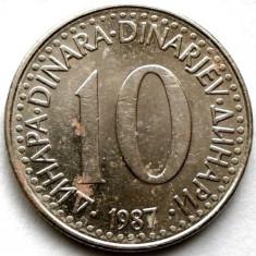 IUGOSLAVIA, 10 DINARI 1987, Europa, Crom