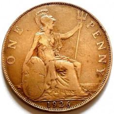 MEGA - RARITATI, MAREA BRITANIE, GEORGE V, 1 PENNY 1926, URIASA 31mm., Europa, Cupru (arama)