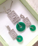 Set  BIJUTERII dama-VERZI(colier +cercei) placat cu AUR alb 18K si SWAROVSKI