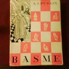 A.S. Puskin Basme, ed. legata, supracoperta, ilustr. Th. Kiriakof-Suruceanu - Carte Basme