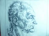 Gravura- Studiu de Portret semnat TS 1975 , dim.= 24,5 x 34,5 cm partea desenata