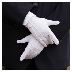 Manusi Perfect Albe Pentru Costum, Mos Craciu, Tuxedo, Frac Si Altele - Manusi Barbati, Marime: Alta