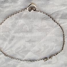 Bratara argint pentru Picior cu Charm INIMIOARA de Efect vintage finuta delicata, Femei