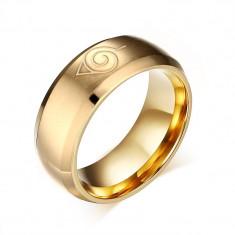 Inel Anime Naruto Semn Konoha [Varianta Gold ] - Inel fashion
