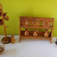 Lot obiecte artizanat vechi romaneasc de lemn, stil popular, anii 70-80, decor