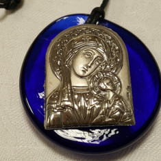 Iconita argint Fecioara Maria cu Pruncul Isus pe sticla de Murano SUPERBA, Icoana