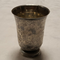 POCAL argint 250 ml MASIV cu picior mic VECHI patina MINUNATA de colectie RAR