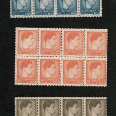 Lp 212 - Mihai I, format mic si mare - serie completa, blocuri de 8 - Timbre Romania, An: 1947, Nestampilat